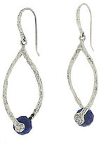 Lapis Or Paz Sterling Gemstone Textured Drop Earrings