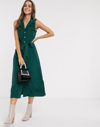 Asos Design DESIGN cord midi shirt dress in green