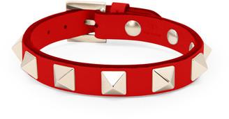 Valentino Rockstud Leather Bracelet with Platino Studs