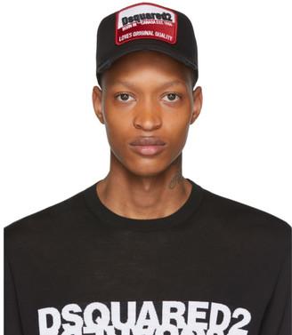 DSQUARED2 Black Distressed Born In Canada Baseball Cap