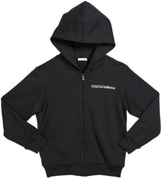 Dolce & Gabbana Boy's Hooded Zip-Up Logo Jacket, Size 4-6
