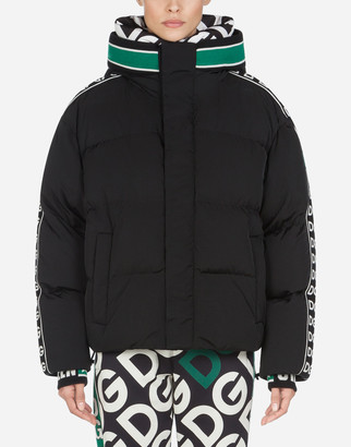 Dolce & Gabbana Short Nylon Down Jacket With Logo Bands