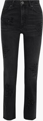 Sandro Sequin-embellished High-rise Straight-leg Pants