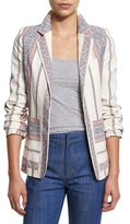 Derek Lam 10 Crosby Striped Open-Front Jacket, Ivory/Multicolor
