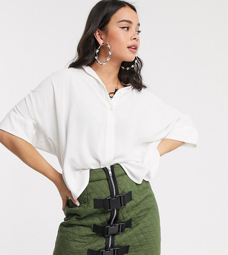 Monki Luka short sleeve oversized boxy blouse in white