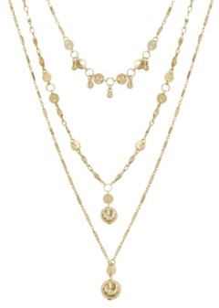 Ettika Triple Threat Gold Ball Charm Necklace Set