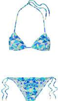 Emilio Pucci Arenal Printed Triangle Bikini - Blue