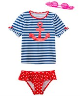 Jump N Splash Girls' Sweet Sailor TwoPiece Short Sleeve Rashguard Set w/ Free Goggles (4-6X) - 8143053