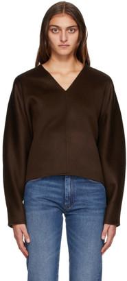 Totême Brown Wool Rennes V-Neck Sweater