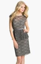 Eliza J Peplum Lace Overlay Sheath Dress