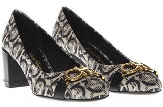 Salvatore Ferragamo Black And Beige Gancini Pattern Pump Shoes