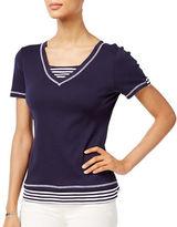 Karen Scott Petite Petite Cotton Layered-Look Striped Top