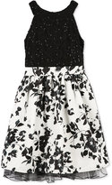 Speechless Black and White Floral Dress, Big Girls (7-16)