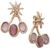 lonna & lilly Gold-Tone Pavé & Dark Pink Stone Front-Back Earrings