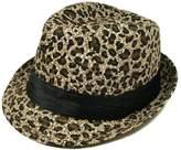 TrendsBlue & Black Leopard Cheetah Print Black Band Fedora Straw Hat