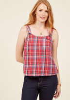 mct1341 From indulgent snacks to adventurous rides, you're ready to take on the annual gathering in this plaid tank top! An Americana color scheme ups the festive factor of this soft top from our ModCloth namesake label, as its buttoned straps and matching back d