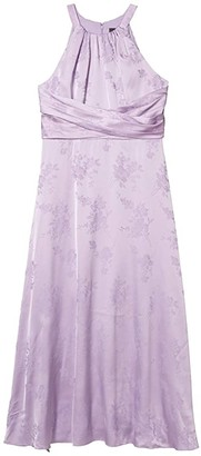 Adrianna Papell Satin Jacquard Midi Dress (Plush Lilac) Women's Dress