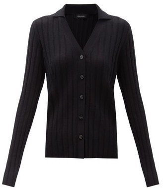 Lisa Yang - Indya Point-collar Ribbed-cashmere Cardigan - Black