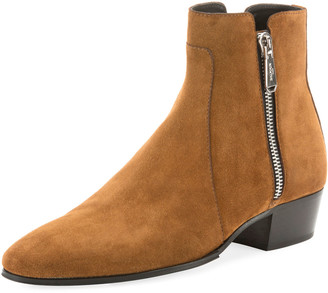 Balmain Men's Calf Suede Zip-Up Ankle Boots