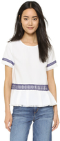 Moon River Contrast Lace Trimmed Top