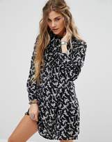 Glamorous Shirt Dress In Bird Print