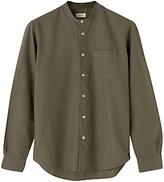Jigsaw Garment Dye Grandad Collar Shirt, Khaki