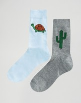 Asos 2 Pack Turtle And Cactus Placement Socks