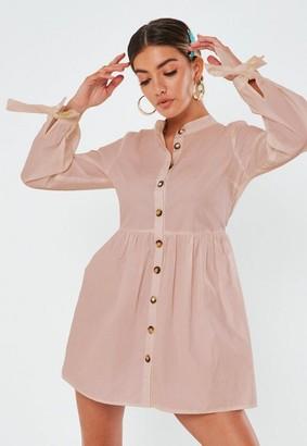 Missguided Tie Cuff Smock Shirt Dress