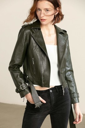J.ING Moss Green Leather Moto Jacket