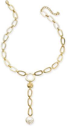 "Alfani Disc & Imitation Pearl Link Lariat Necklace, 25-1/2"" + 2"" extender"