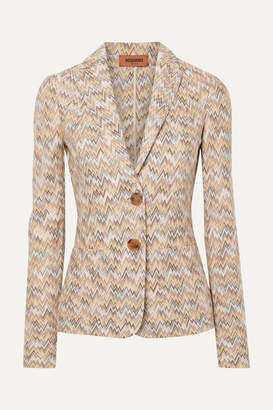 Missoni Crochet-knit Wool Blazer - Beige
