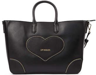 Love Moschino Black Pvc Heart Tote Bag