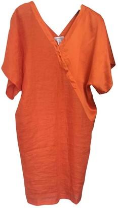 Genny Orange Linen Dress for Women
