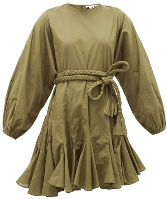Rhode Resort Ella Cotton Mini Dress - Womens - Dark Green