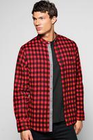 Boohoo Grandad Collar Brushed Check Pocket Shirt