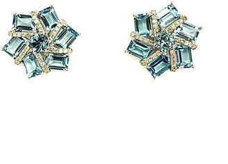 Arthur Marder Fine Jewelry Silver Diamond & Blue Topaz Earrings
