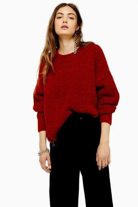 Topshop Rust Knitted Waffle Jumper