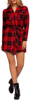 Dex Button-Front Plaid Tunic Dress