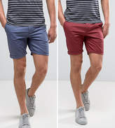 Asos 2 Pack Slim Chino Shorts In Berry & Blue SAVE