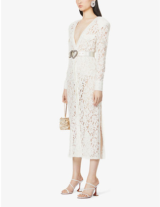 Alessandra Rich V-neck long-sleeved floral lace dress
