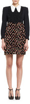 Chloé Long-Sleeve Crepe & Velvet Poppy-Print Minidress, Multicolor