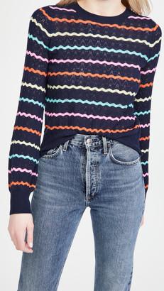 Autumn Cashmere Puff Sleeve Pointelle Stripe Cashmere Sweater