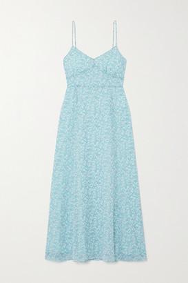 TVF - Souffle Floral-print Crepe De Chine Midi Dress - Mint