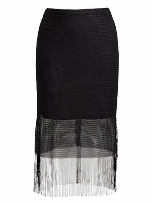 Akris Punto Fringed Mesh Midi Skirt