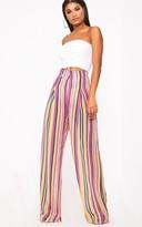 PrettyLittleThing Pink Chiffon Stripe High Waisted Wide Leg Trousers