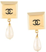 Chanel Pre Owned square block faux pearl earrings