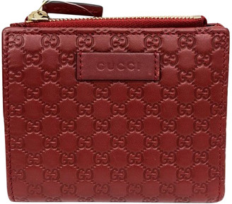 Gucci Red Microguccissima Leather Compact Wallet