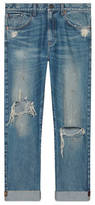 Gucci Denim pant with embroidered ribbon