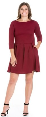 24/7 Comfort Apparel 24/7 Women's Plus Size Comfort Apparel Perfect Fit and Flare Plus Size Pocket Dress