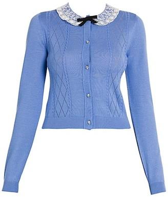 Miu Miu Lace-Collar Pointelle-Knit Cashmere Cardigan